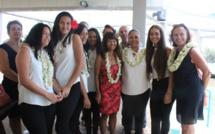 Les participantes félicitées par la ministre de l'Education, Christelle Lehartel.