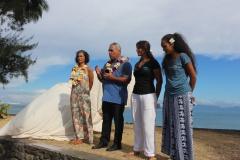 Inauguration en présence du ministre de l'environnement et de la directrice du Musée de Tahiti et des îles.