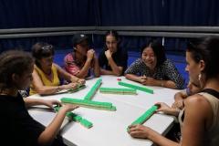 Le mah-jong est un jeu de société d'origine chinoise qui se joue à quatre joueurs, avec des pièces appelées tuiles. Après la période d'apprentissage, les joueurs se sont régalés