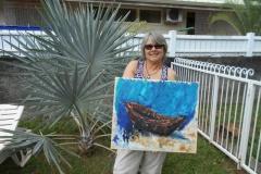 Marion H. Gérard est peintre sous-marin depuis un an. Elle est de passage au fenua.
