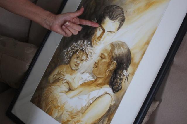 """Les peintures de A'amu pour illustrer """"Maupiti mon amour""""."""