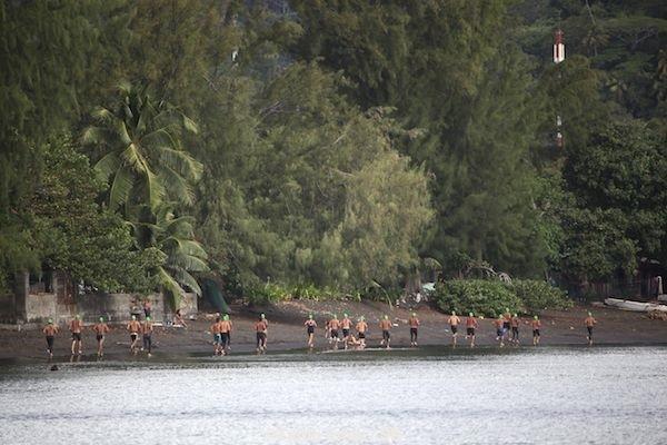 Il y avait même une partie course à pied avant la natation