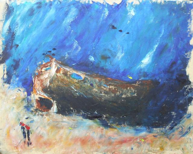 Marion H. Gérard est peintre sous-marin, elle a plongé sur le site de l'Aquarium.