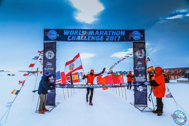 En Antarctique en 2009 pour un marathon.